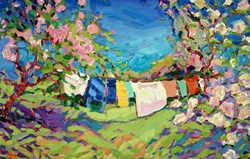 Rites of Spring, at Foxhill by Jeffrey Pratt - Original Painting on Board sized 43x27 inches. Available from Whitewall Galleries
